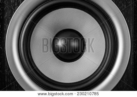 Subwoofer Dynamic Membrane Or Sound Speaker As Music Background, Hi-fi Loudspeaker Close Up Macro Sh