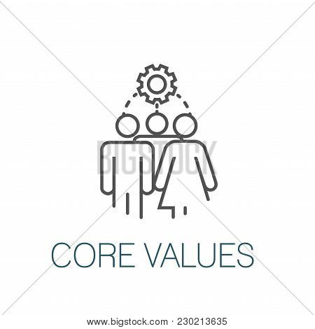 Core Values Outline Icon W Person & Collaborating / Thinking Ideas