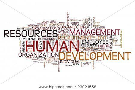 HR - conceito de desenvolvimento de recursos humanos na nuvem de Tags de palavra