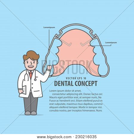 Layout Hawley Retainer And Doctor Cartoon Style For Info Or Book Illustration Vector On Blue Backgro