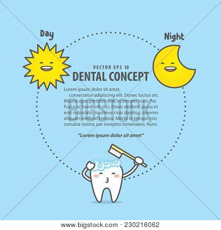 Layout Brushing Time Day & Night With Tooth Character, Sun, Moon, Illustration Vector On Blue Backgr