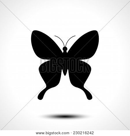 Butterfly Icon, Butterfly Silhouette On White Background. Vector Illustration