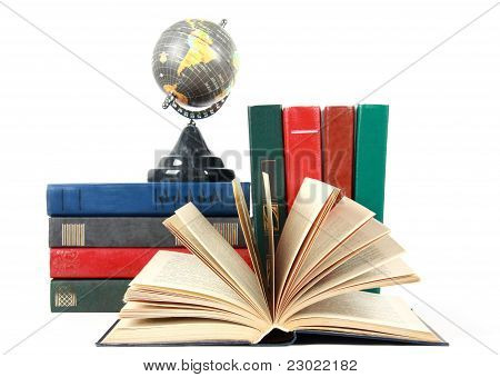 Open Book And Grey Globe