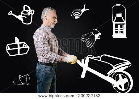 Cheerful Gardener. Calm Positive Senior Man Smiling And Pushing A Garden Cart While Working In His B