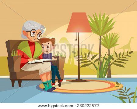 Vector Cartoon Grandmother Reading Scientific Book To Boy Kid Sitting Armchair. Illustration Elderly
