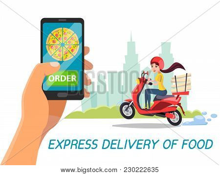 Vector Cartoon Express Food Delivery Concept . Poster Background Template With Man Hand Making Order