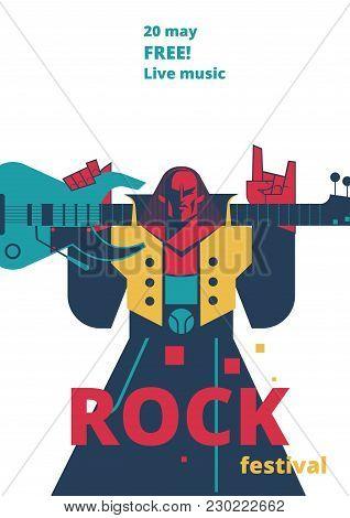 Rock Music Live Festival Poster Vector Illustration For Concert Placard Or Entry Ticket, Advertisiem
