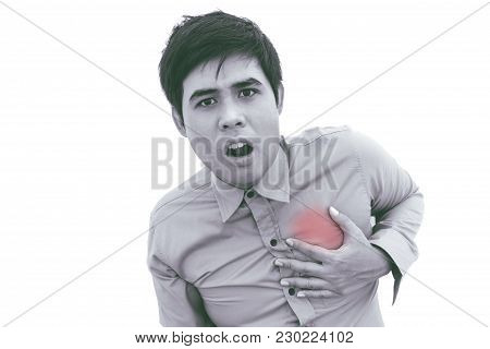 Man Having Chest Pain - Heart Attack  On White Background