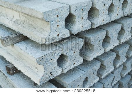 Stack Of Prestressed Concrete Section-i Foundation Piles