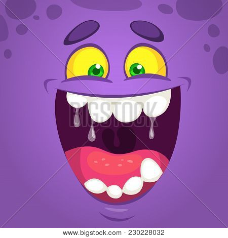 Cool Happy Cartoon Monster Face. Vector Halloween  Monster Laughing With Wide Mouth Smiling Full Of