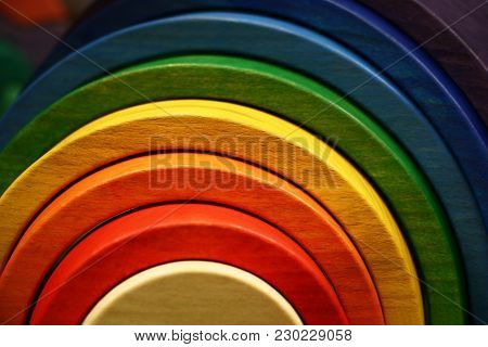 The Wooden Toy Rainbow Consists Of Eight Original Parts.