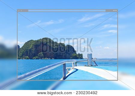 Web Site Page Design Concept, Beautiful Blue Sea And Island On Speed Boat, Krabi Thailand Background