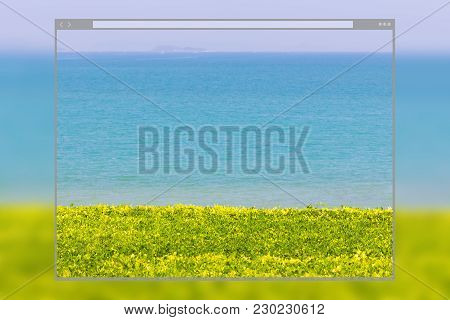 Web Site Page Design Concept, Lawn Grass Tree With Blue Sky And Sea Background.