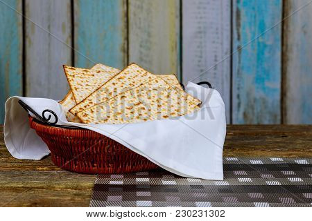 Pesach Passover Symbols Of Great Jewish Holiday. Traditional Matzoh, Matzah Or Matzo. Retro Style