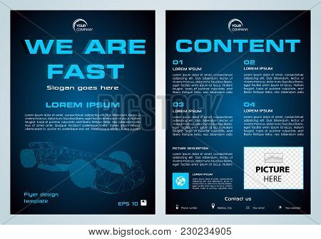 Vector Flyer, Corporate Business, Annual Report, Brochure Design And Cover Presentation With Blue Po