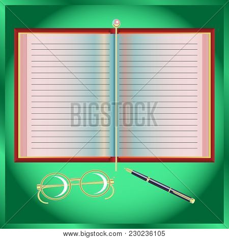 Notebook, Gold-plated Glasses, Pen, Gold-plated Bookmark On Green Background. Vector Illustration