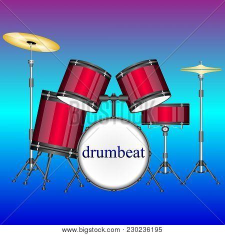 Modern Drum Kit, Drum Set. Vector Illustration