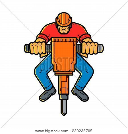 Mono Line Illustration Of A Construction Worker Operating Jackhammer, Pneumatic Drill Or Demolition