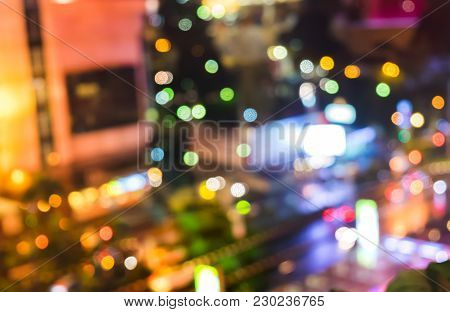 Abstract Blurred Night Life Light Bokeh In City. Colorful Playful And Fun Bokeh Concept