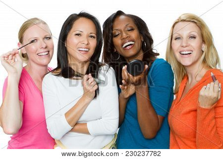 Diverse Group Of Women Putting On Makeup Isolated On White.