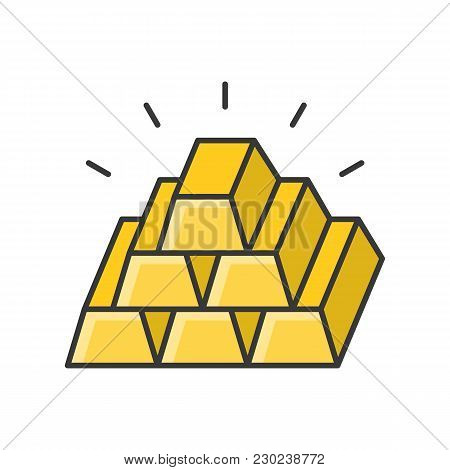 Gold Bar Icon, Pile Of Gold Bar, Filled Outline Icon