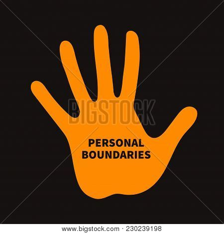 Personal Boundary. Prohibiting Palm, Psychotherapy Icon Vector Illustration