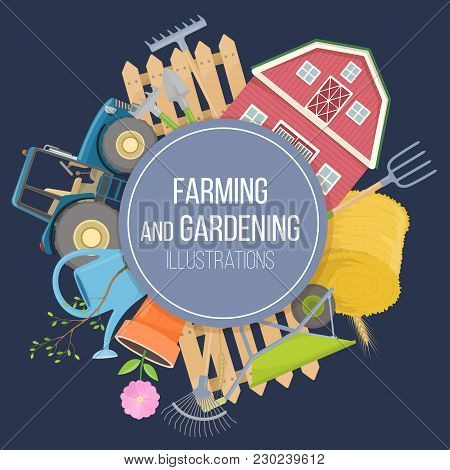 Set Of Colorful Farming Equipment Icons. Farming Tools And Agricultural Machines Decoration. Vector