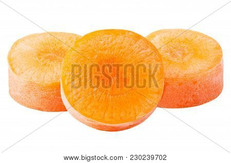 Isolated Carrots. Three Piece Of Carrots Isolated On White Background With Clipping Path As Package