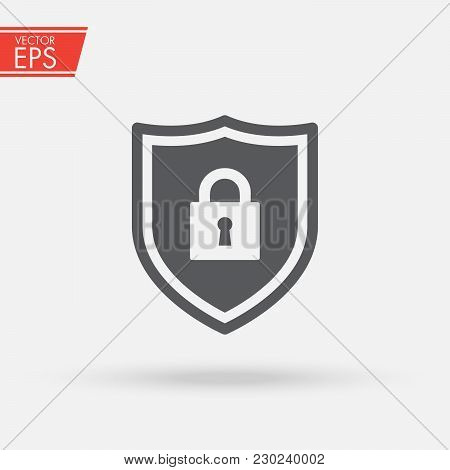 Shield Security With Lock Symbol. Protection, Safety, Password Security Vector Icon Illustration. Fi