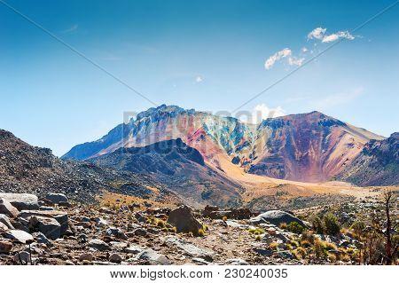 Colorful Peak Of The Tunupa Volcano, Salar De Uyuni, Altiplano, Bolivia