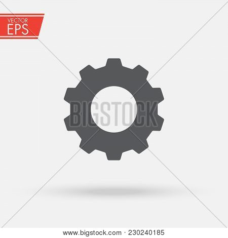 Gear Icon. Engineering Mechanism. Symbol Of Mechanization. Machinery Industrial Technology Sign. Pro