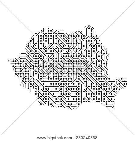 Abstract Schematic Map Of Romania From The Black Printed Board, Chip And Radio Component Of Vector I