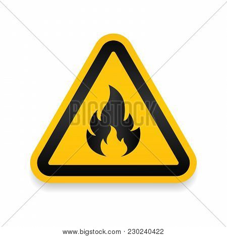 Fire Warning Dangerous Flame Attention Icon Icon. Flammable Danger Symbol, Filled Flat Sign, Solid P