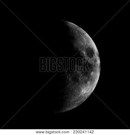 High Contrast First Quarter Moon