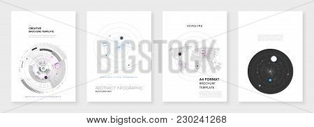 Minimal Brochure Templates. Infographic Elements On White Background. Technology Sci-fi Concept, Abs