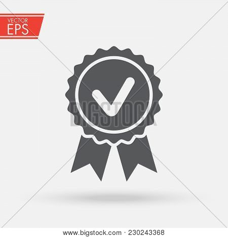 Approved, Accept Or Certified Icon Medal With Ribbons And Check Mark Icon Isolated On Grey Backgroun