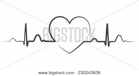 Heart Beat Monitor Pulse Line Art Icon For Medical Apps And Websites. Breathing And Alive Sign Red L