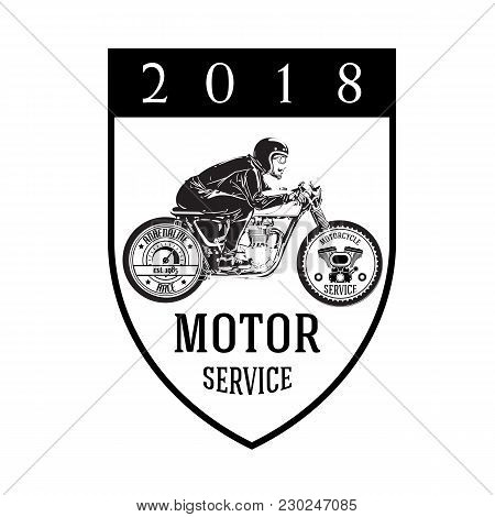 Motorcycle Service 2018 Man Riding Motorcycle Background Vector Image