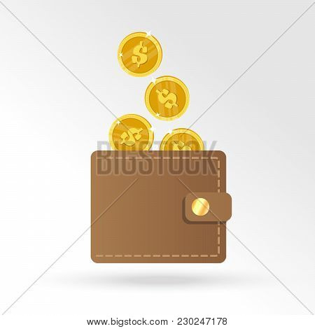 Brown Wallet With Yellow Gold Coins. Wallet With Money Dollar Bank Note Flat Design Isolated, Icon V