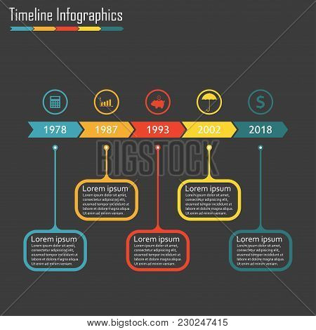 Timeline Infographics Template With Icons. Horizontal Timeline Infographic Design Elements. Colorful
