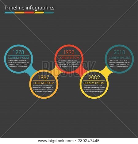 Timeline Infographics Template With Icons. 5 Steps, Options Or Levels Timeline Infographic Design El