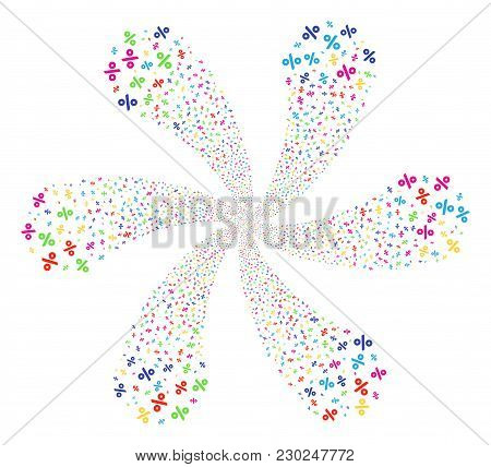 Attractive Percent Spiral Motion. Psychedelic Twist Combined From Scatter Percent Items. Vector Illu