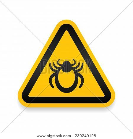 Ticks Warning Mite Bug Sign. Encephalitis Parasite Icon. Beetle Tick Danger Crossed Sign Vector Flat