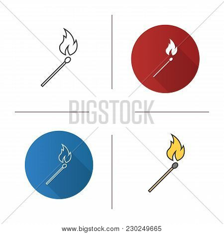 Burning Matchstick Icon. Flat Design, Linear And Color Styles. Arson. Isolated Vector Illustrations