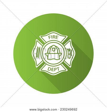 Fire Department Badge Flat Design Long Shadow Glyph Icon. Vector Silhouette Illustration