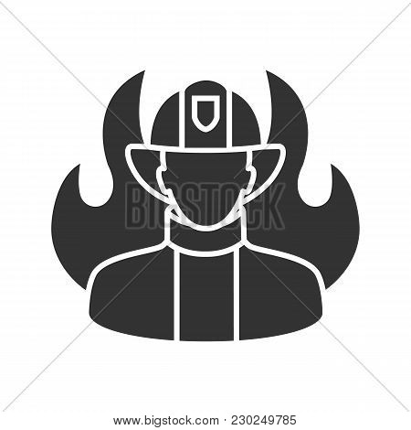 Firefighter Glyph Icon. Fireman. Silhouette Symbol. Negative Space. Vector Isolated Illustration