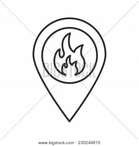 Fire Location Linear Icon. Thin Line Illustration. Map Pinpoint With Flame Inside. Contour Symbol. V