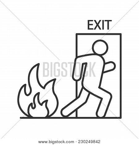 Fire Emergency Exit Door With Human Linear Icon. Evacuation Plan. Thin Line Illustration. Contour Sy