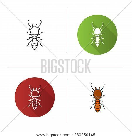 Termite Icon. Flat Design, Linear And Color Styles. White Ant. Isolated Vector Illustrations