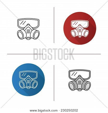 Respirator Icon. Flat Design, Linear And Color Styles. Gas Mask. Pest Control Equipment. Isolated Ve